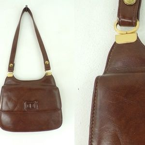 Vintage 60s Brown Vinyl Purse Mid Century Handbag